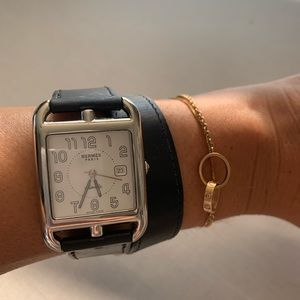 Hermès cape code watch with leather wrap